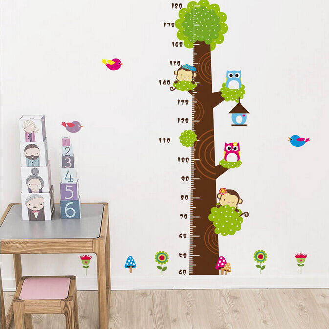 Wandtattoo wandsticker xxl eule tier kind messlatte wald for Kinderzimmer 7 5 m2