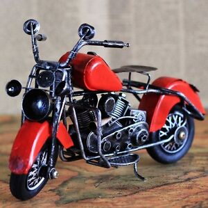 Retro Vintage Red Motorbike Motorcycle Model Home Decoration Decor Ornament Toy