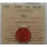 1966 Penny 1 Cent Canada Red ICCS MS-66