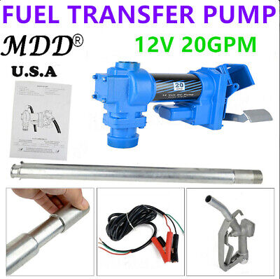 Dc 12v Gasoline Petrol Fuel Transfer Pump 20gpm Gas Diesel Hose Nozzle Kit Hot