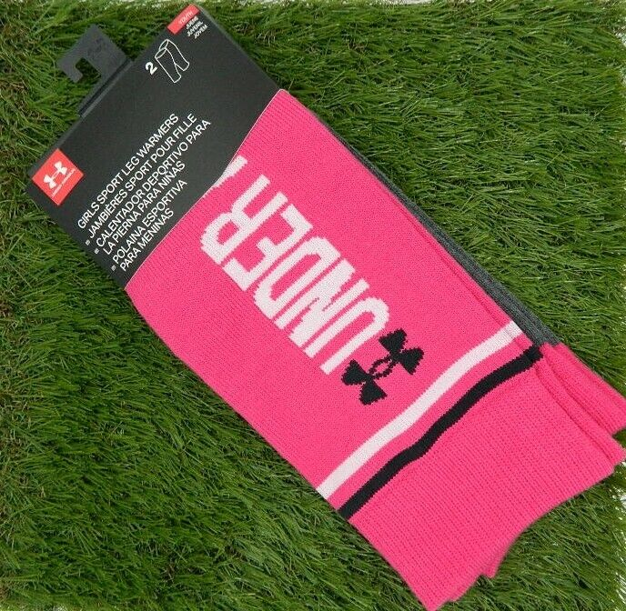 Under Armour Girls Sport Leg Warmers Pink Gray 2 Pairs NEW