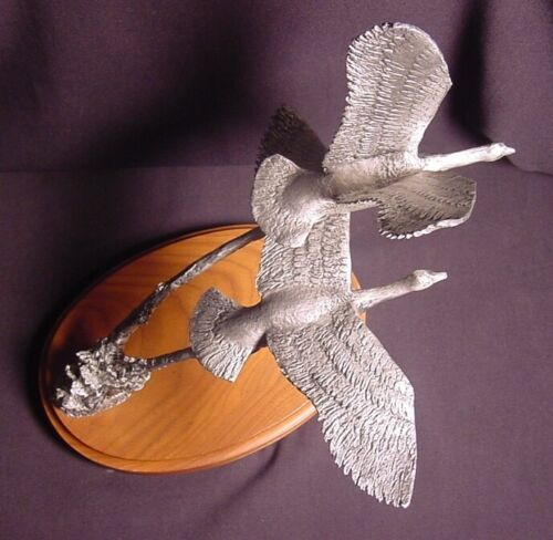 Fountain Creek Productions Pewter Sculpture Two Flying Geese~Retired Item~LN