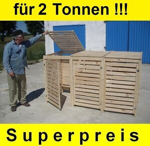 Mülltonnenbox Müllbox für 2 Tonnen Müllcontainer Massivholz NEU Top Angebot!!!