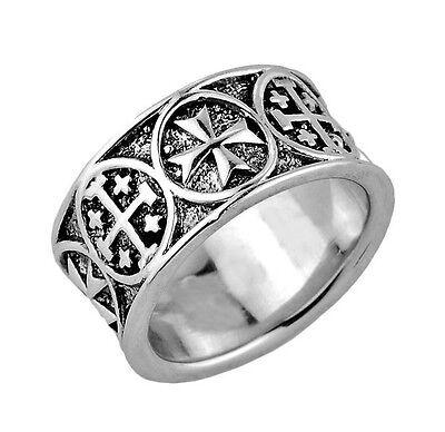Sterling Silver Jerusalem 'Crusaders' Maltese Cross Mens Ring Band (11 MM)