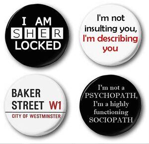 SHERLOCK COLLECTION  - 4x 1 inch / 25mm Button Badge - Holmes Watson Cumberbatch