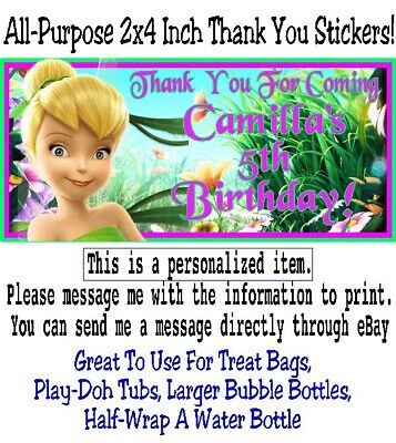 20 Tinkerbell Birthday Party Baby Shower Thank You Stickers Label Fairy Princess