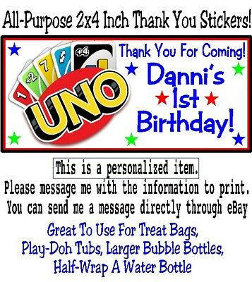 20 UNO Playing Cards Game Birthday Party Baby Shower 2x4 All Purpose Stickers](Uno Birthday Party)