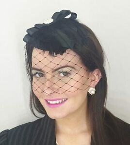 Details about BLACK VINTAGE LACE VEIL HAT HEADPIECE FASCINATOR RACES ...