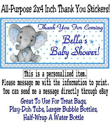 20 Elephant Baby Shower Birthday Party Thank You Stickers Labels Blue Gray Boy