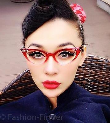 50s Retro RITA Cat Eye Gradient Ombre WaYFe Demi PinUp Clear Eyeglasses Frames  - Cat Eye Frames