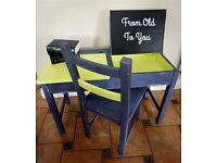 Original Old School Desk and Chair - hand painted