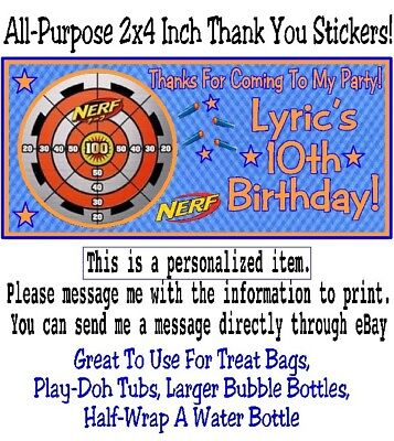 20 Nerf Gun Wars Target Birthday Party Or Baby Shower 2x4 Inch Stickers Favors