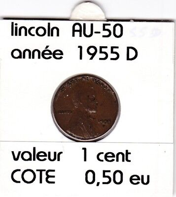 e2 )pieces de 1 cent  1955   D   lincoln