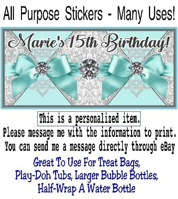 20 Tiffany Blue Ribbons Diamonds Birthday Party Baby Shower All Purpose Sticker