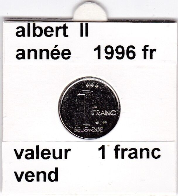 FB 2 )pieces de albert II  1 francs 1996   belgique