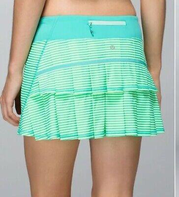 "RARE🍀Lululemon sz 8 Run Pace Setter skirt 1/8"" Stripe Printed Bali Breeze EUC"