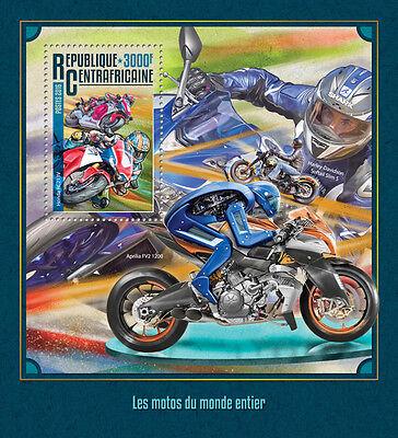 Central African Rep 2016 MNH Motorcycles Harley Davidson Honda 1v S/S Stamps