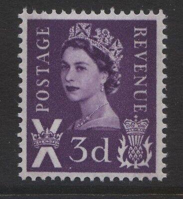 REGIONALS - SCOTLAND 1958/67 3d DEEP LILAC 2 BANDS MNH SG.S1p. CAT. £13