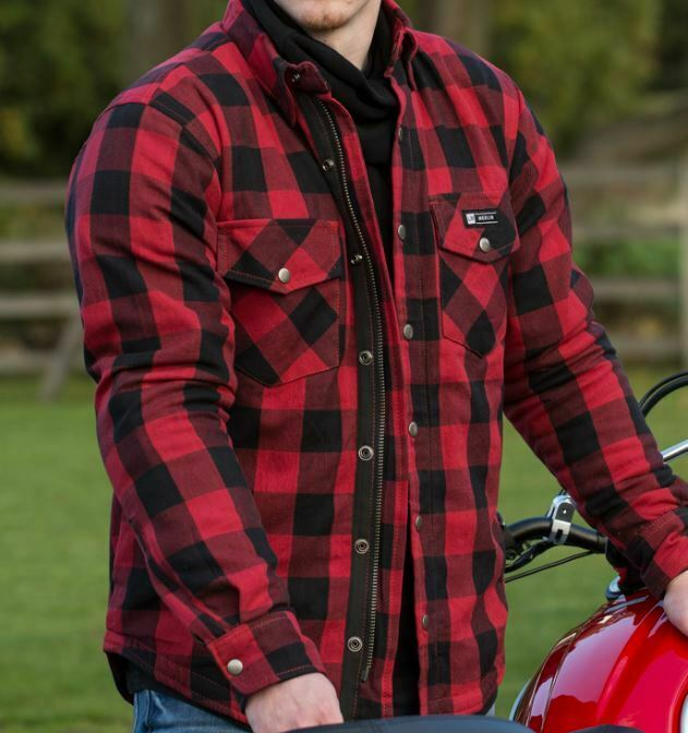 Merlin Axe Mens Zippered Motorcycle Motorbike Checked Shirt Green