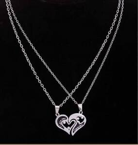 --- BEAUTIFUL 'I LOVE YOU'  SILVER MATCHING HEART NECKLACE---