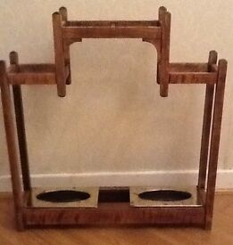 Vintage Wooden Umbrella Stand with Two Solid Brass Drip Trays
