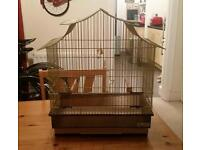 Gold coloured bird/budgie cage