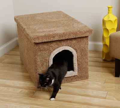 Litter Box Furniture Hidden Cat Dog Bed Kitty Scratching Post Tree Carpet Beige