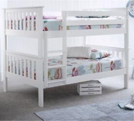 Wooden white bunk bed no mattresses