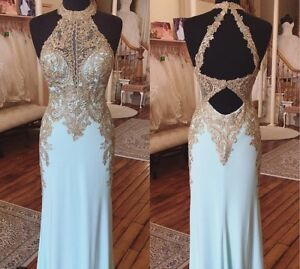 Blue and Gold Clarisse Prom Dress