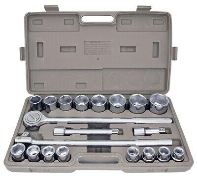 "21pc SAE 3/4"" Drive Socket Set w Storage Case Jumbo Ratchet Wrench Extension NEW"