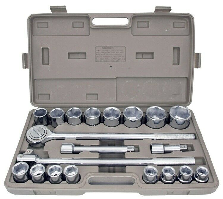 "21pc METRIC 3/4"" Drive Socket Set w Storage Case Jumbo Ratchet Wrench Extension"
