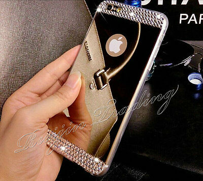Mirror Crystal Bling TPU Soft Gel Case Back Cover Skin For iPhone 5 5S 6 & Plus