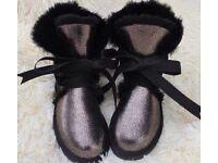 UUG Australian sheepskin holographic boots 38 5 EMU Zara TopShop CL LV MK ASOS Armani