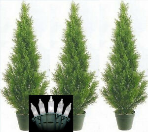 3 CEDAR IN OUTDOOR 3 TOPIARY TREE PLANT ARTIFICIAL BUSH WITH CHRISTMAS LIGHTS