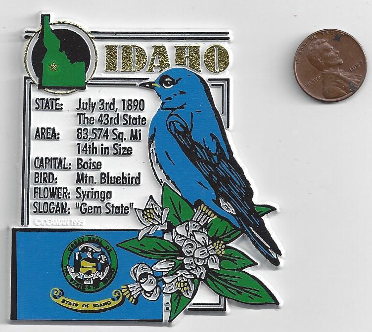 IDAHO STATE MONTAGE FACTS MAGNET   BLUEBIRD  SYRINGA