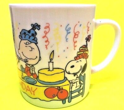 Snoopy, Siblings and Friends HAPPY BIRTHDAY Cup Mug 1980's LUCY Charlie Brown - Charlie Brown Birthday