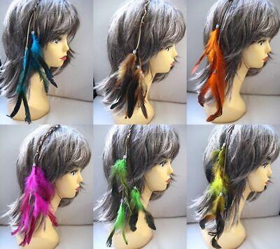 Haarschmuck Haarclip Haar Hair Extension Extensions Federn & Lederband Fasching