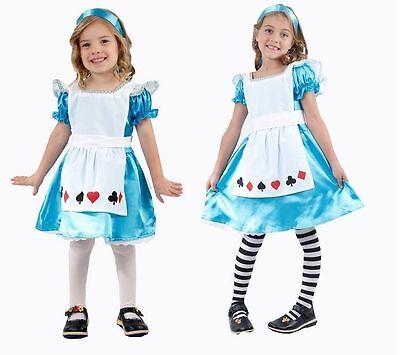 Alice in Wonderland Girls Fancy Dress Costume Kids Child Book Week Day Fairytale - Childs Alice In Wonderland Costume
