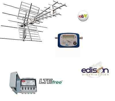 KIT ANTENNA UHF/VHF COMBINATA CON MISURATORE DI SEGNALE E AMPLIFICATORE 30db