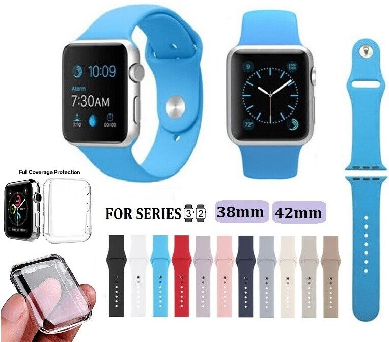 Silicone Replacement Band For Apple Watch Series 2 3 38mm 42mm + Clear Case Jewelry & Watches