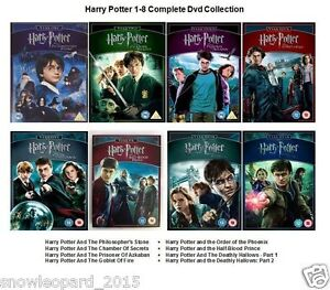 HARRY POTTER ALL 8 MOVIE COMPLETE DVD COLLECTION FILMS YEAR PART 1 2 3 4 5 6 7 8