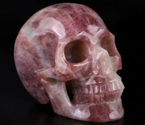 "Astonishing 4.8"" Premium ROSE QUARTZ Hand Carved Crystal Skull, Realistic"