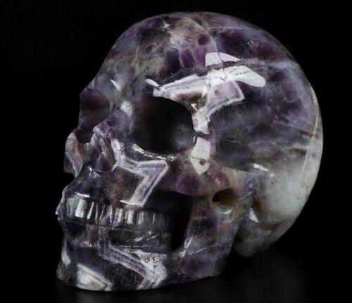 "Huge Extraordinary 4.8"" DREAM CHEVRON AMETHYST Carved  Skull VERY DETAILED GEODE"