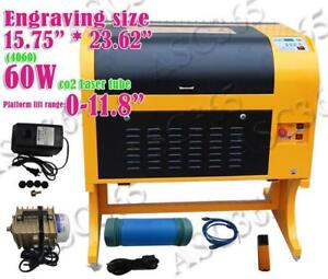 "15.75""x 23.62"" 60W Laser Tube 4060 CO2 Laser Engraving Cutting Machine Engraver 110V 130065"