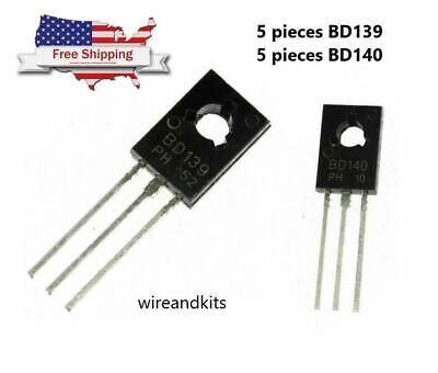 10 Pcs 5 Each Bd139 Bd140 To-126 Transistor Low Voltage 80v 1.5a Sot-32