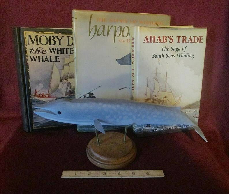 BLUE WHALE by Jim Stangland (the fish decoy maker!) BIG, wood carving, one left!