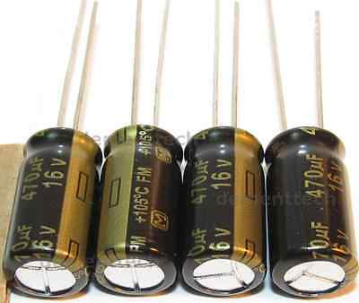 4x Panasonic FM 470uF 16v Low-ESR radial capacitors caps 105C 8mm 8x15