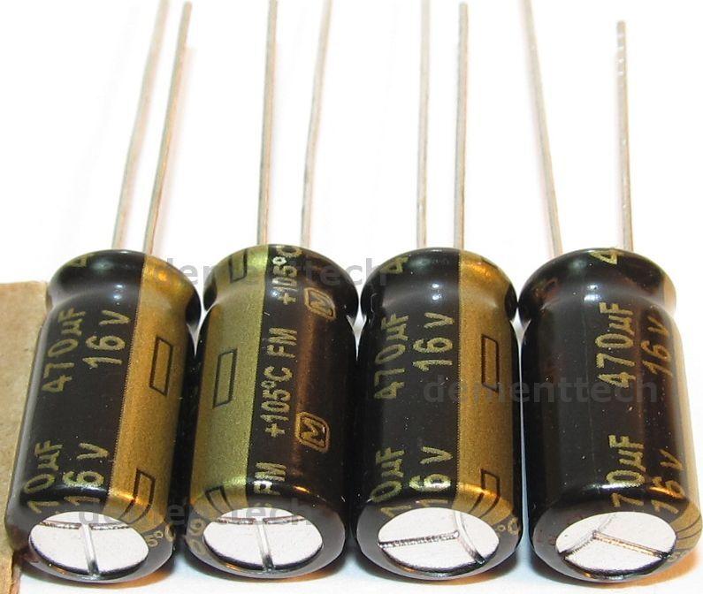 4x Panasonic FM 470uF 16v Low-ESR radial capacitors caps 105C 8mm 8x15