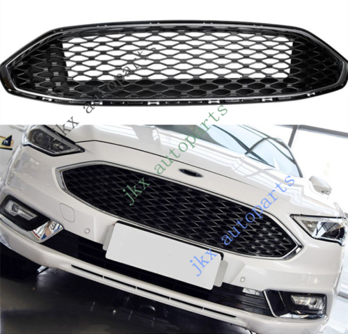 Honeycomb Sport Style Silver Front Bumper Center Grille o For Ford Fusion 17-18
