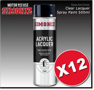 12-x-Simoniz-Large-Clear-Lacquer-Acrylic-Gloss-Aerosol-Spray-Paint-500ml-SIMP22D
